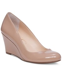 Jessica Simpson Sampson Round Toe Wedge Pumps Women's Shoes Nude Patent