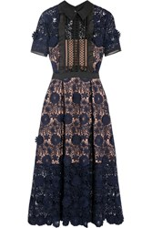 Self Portrait Camilla Chiffon Trimmed Guipure Lace Dress Navy
