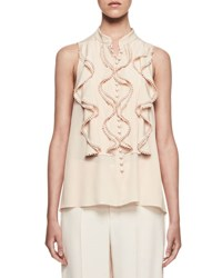 Chloe Sleeveless Ruffle Front Silk Top Peach