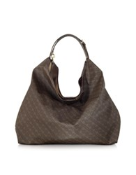 Gherardini Coffee Brown Fabric And Leather Large Shoulder Bag