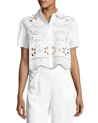 Red Valentino Short Sleeve Embroidered Muslin Crop Top White