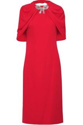 Reem Acra Woman Cape Effect Open Back Embellished Cady Dress Red