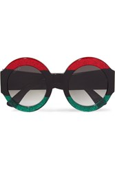 Gucci Oversized Round Frame Glittered Acetate Sunglasses Black