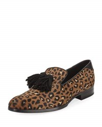 Jimmy Choo Foxley Leopard Print Calf Hair Tassel Loafer