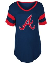 5Th And Ocean Women's Atlanta Braves Sleeve Stripe Relax T Shirt Navy Red