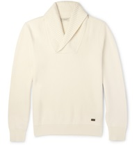 Burberry Salters Shawl Collar Wool Blend Sweater White
