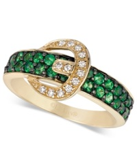 Le Vian Tsavorite 5 8 Ct. T.W. And Diamond Accent Buckle Ring In 14K Gold Green