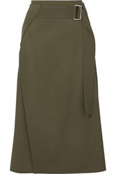 Victoria Beckham Belted Wrap Effect Wool Twill Midi Skirt Army Green