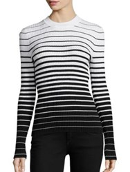 Milly Degrade Stripe Pullover White Black