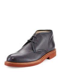 Ermenegildo Zegna Deerskin Leather Chukka Boot Navy