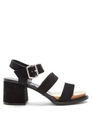 Tod's Suede Block Heel Sandals Black