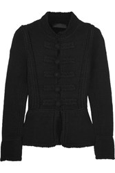 Co Pointelle Trimmed Wool Cardigan Black