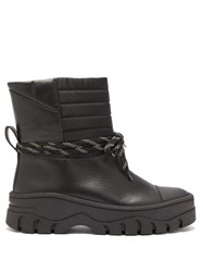 Ganni Quilted Panel Leather Biker Boots Black