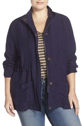 Plus Size Women's Caslon Linen Blend Stand Collar Utility Jacket Navy Peacoat