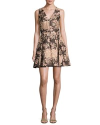 Alice Olivia Willow Sleeveless Pleated Floral Jacquard Fit And Flare Dress Multicolor