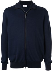 Brioni Zip Up Knitted Jacket Blue