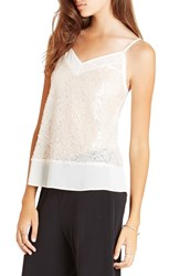 Bcbgeneration Sequin Mesh And Chiffon Camisole Ecru