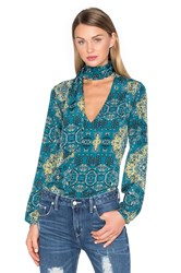 House Of Harlow X Revolve Naomi Tie Neck Blouse Green