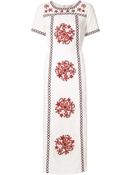 Suno Embroidered Long Tunic Dress Nude And Neutrals