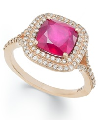 Effy Collection Rosa By Effy Ruby 3 1 8 Ct. T.W. And Diamond 1 3 Ct. T.W. Ring In 14K Rose Gold