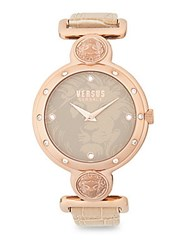 Versus By Versace Stainless Steel Rose Gold Leather Strap Watch