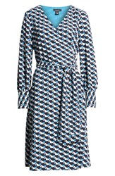 Halogen Wrap Dress Blue Ivory Geo Print