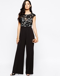 Lipsy Jumpsuit With Lace Top Black
