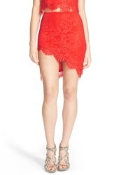 Missguided Asymmetrical Lace Miniskirt Coral