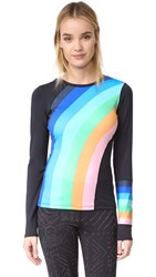 Free People Movement Rainbow Runner Top Black Combo