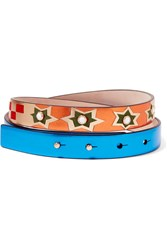 Valentino Embellished Metallic Textured Leather And Suede Belt Blue