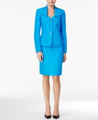 Le Suit Metallic Three Button Skirt Cerulean