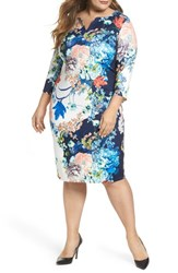 Eci Plus Size Women's Floral Jersey Sheath Dress Navy Blue