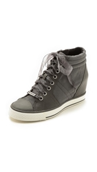 Dkny Cindy Canvas Wedge Sneakers Storm Grey