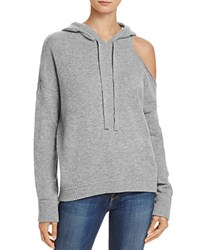 Minnie Rose Cutout Cashmere Hoodie Silver Gray