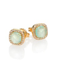 Suzanne Kalan Blue Chalcedony White Sapphire And 14K Yellow Gold Mini Cushion Stud Earrings Gold Blue