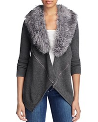 Design History Faux Fur Zip Cardigan Wall Street Grey