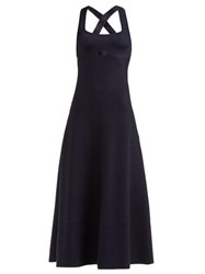 Gabriela Hearst Flores Square Neck Wool Blend Dress Navy