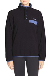Women's Patagonia 'Synchilla' Fleece Pullover Black W Violet Blue