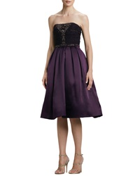 Pamella Roland Strapless Embroidered Sequined Party Dress