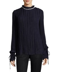 Nina Ricci Shell Embellished Crinkled Georgette Blouse Purple