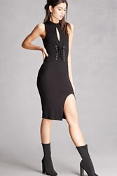 Forever 21 Lace Up Ribbed Tank Dress Black