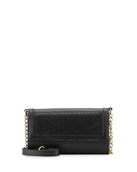 Neiman Marcus Leather Cell Phone Crossbody Bag Black