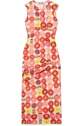 Molly Goddard Laurie Gathered Printed Stretch Tulle Dress Uk8