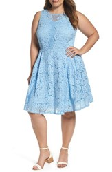 Gabby Skye Plus Size Women's Lace Fit And Flare Dress