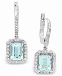 Macy's 14K White Gold Earrings Aquamarine 3 1 5 Ct. T.W. And Diamond 1 2 Ct. T.W. Leverback Earrings Blue