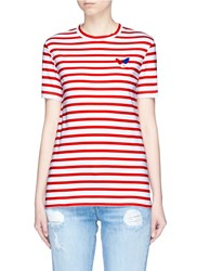 Etre Cecile 'Classic' French Bulldog Patch Stripe T Shirt Red Multi Colour