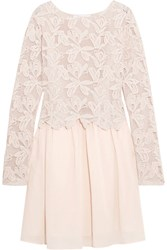 See By Chloe Guipure Lace And Cotton Mini Dress Pastel Pink