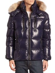 Sam. Coyote Fur Trimmed Quilted Down Jacket Marine
