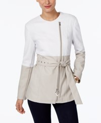 Inc International Concepts Colorblocked Moto Jacket Only At Macy's Bright White Fresh Cement