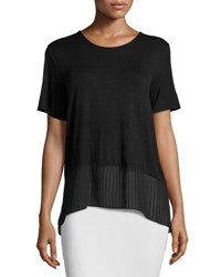 Bcbgmaxazria Short Sleeve Chiffon Hem Top Black